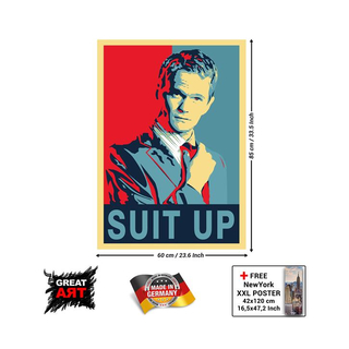 Suit Up Poster- red blue Poster Barney Stinson- LEGENDÄR...